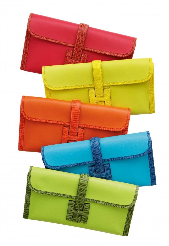 Colorful Hermès clutch bags