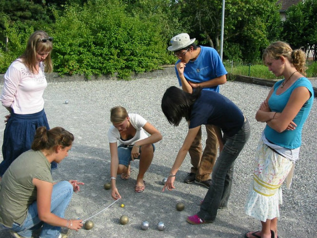 Playing a game of pétanque at CILFA