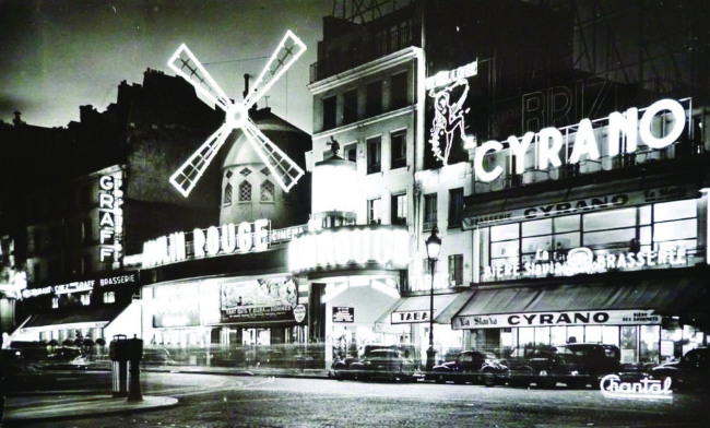 old postcard of Cyrano/ Moulin Rouge