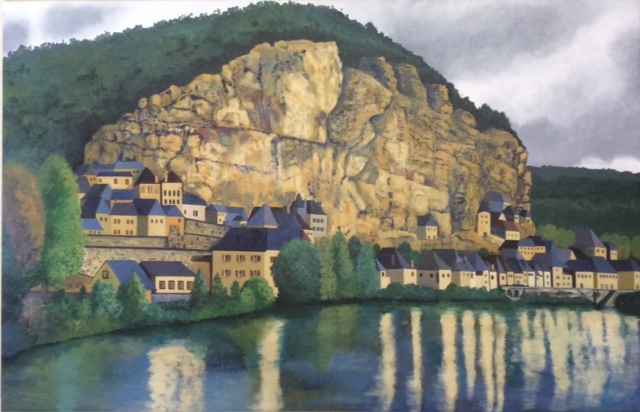 painting of La Roque-Gageac by Jo Anne Marquardt