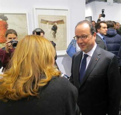 President Hollande at the official inauguration of Art Paris on March 30 photo: ©Sylvia Davis