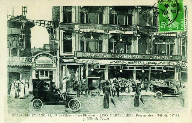 an old postcard of the Brasserie Cyrano