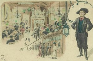 a hand-coloured lithograph of Aristide Bruant's cabaret, Le Mirliton, circa 1894 / Graham Twemlow Collection