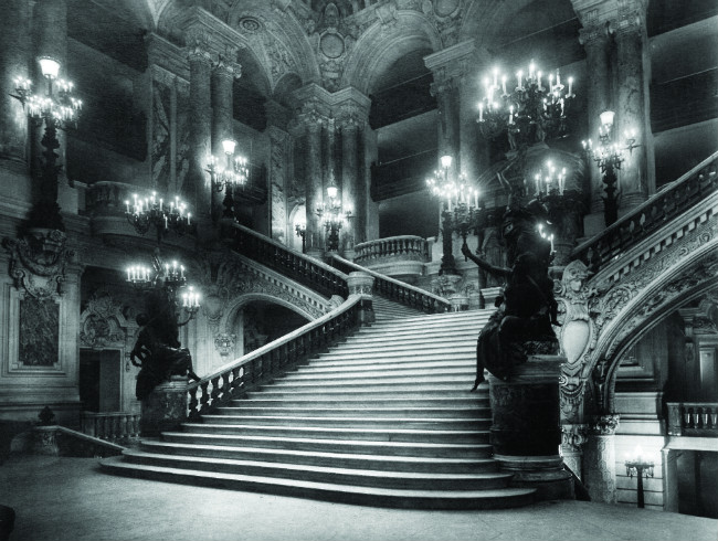 grand staircase at the Opera in Paris