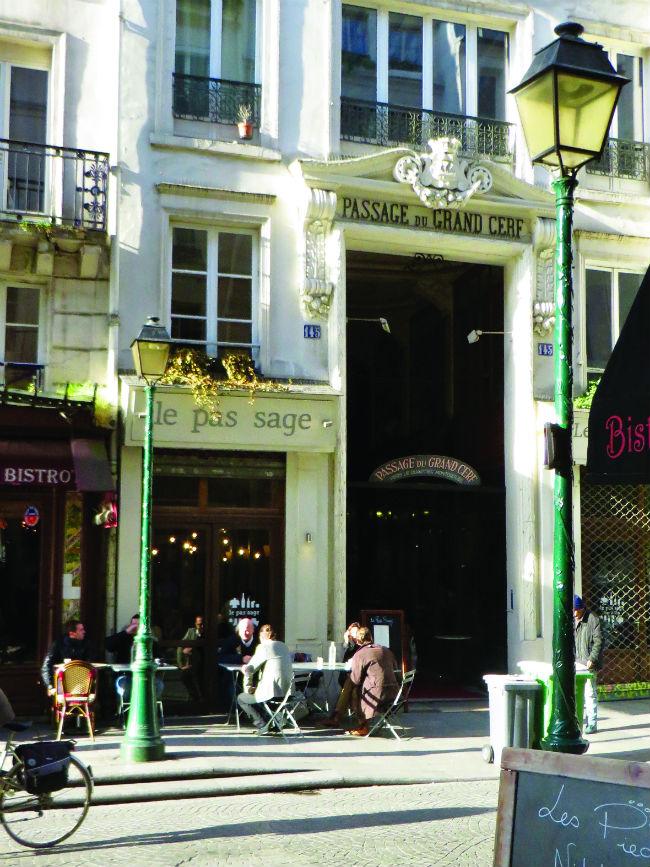 Terrace of Passage Restaurant, passage du Grand Cerf.