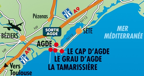 Map and how to get to Cap d'Agde