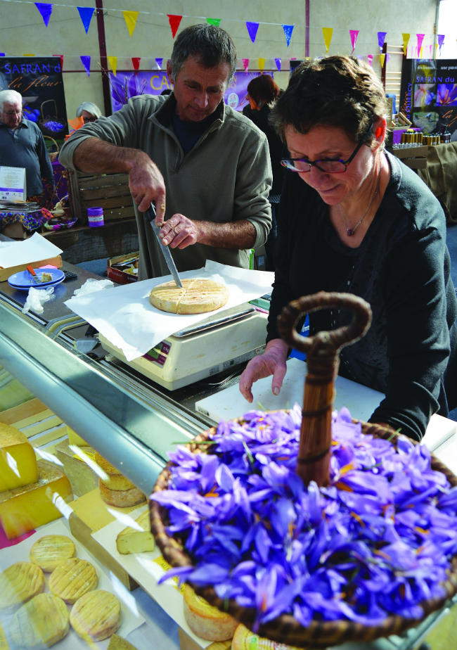 Denis and Gervaise Pradine sell saffron-infused cheese