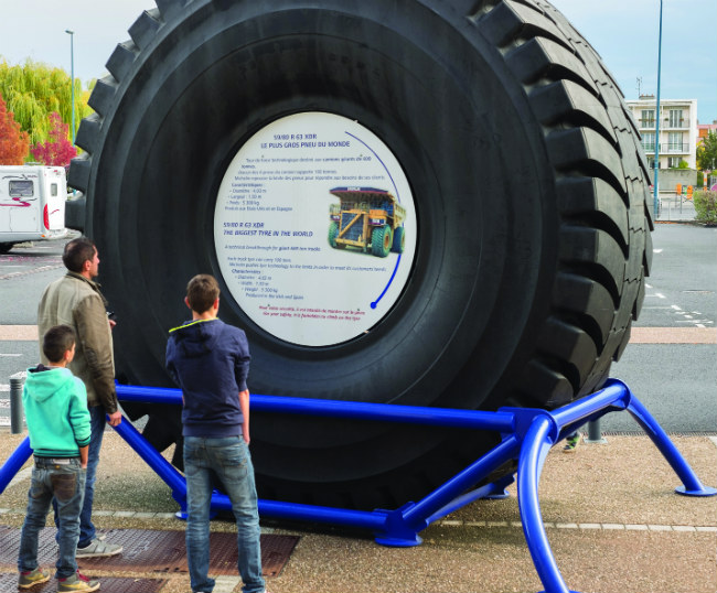 The earth's largest tyre displayed at the Michelin museum