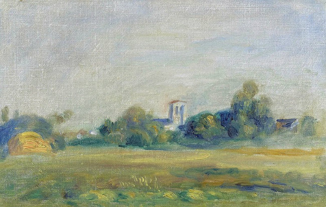A painting of the village of Essoyes by Renoir