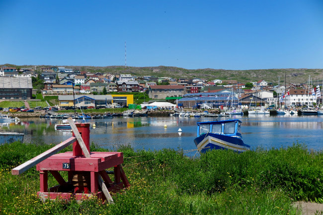 A view of Saint Pierre's harbor on a sunny day