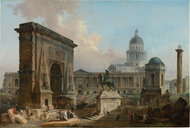 Hubert Robert The Monuments of Paris, 1788 oil on canvas overall size: 117 x 175 cm (46 1/16 x 68 7/8 in.) Collection Power Corporation of Canada, Montreal