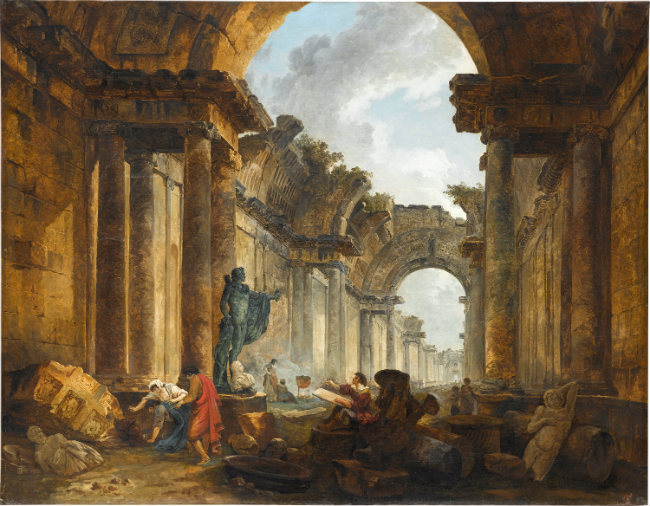 Hubert Robert View of the Grande Galerie of the Louvre in Ruins, 1796 oil on canvas overall: 115 x 145 cm (45 1/4 x 57 1/16 in.) Musée du Louvre, Département des Peintures, Paris © RMN-Grand Palais / Art Resource, NY