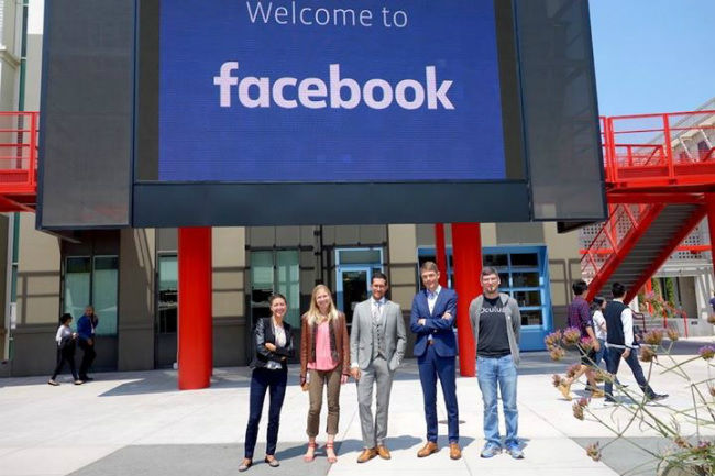Lebrun-Damiens with a group at Facebook HQ