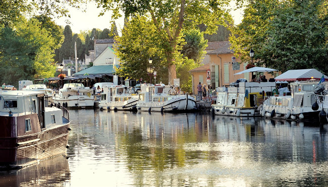 The port of Capestang on the Canal du Midi