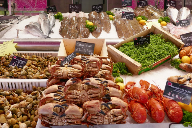 Fresh seafood in Normandy