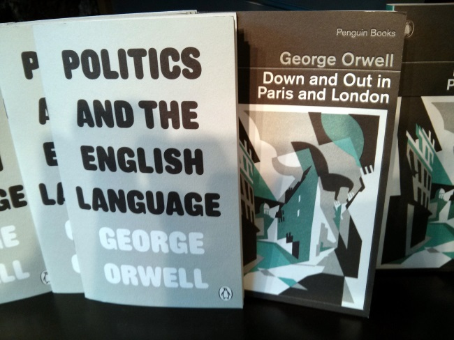 Politics and the English Language and Down and Out in Paris and London, vintage Orwell reissues from Random Penguin, Foyles, St Pancras, Camden, London, UK courtesy of Cory Doctorow/Flickr