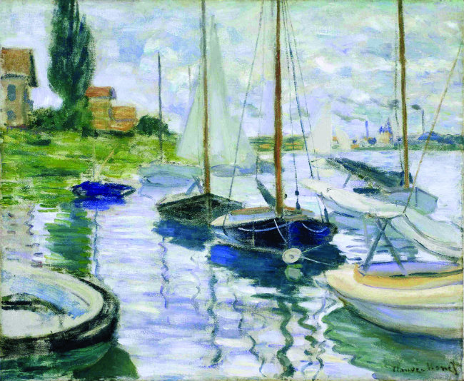 "Claude Monet's ""Boats Moored at Le Petit-Gennevilliers"""