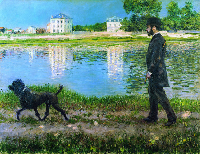 Caillebotte's Richard Gallo and his Dog, Dick, at Petit-Gennevilliers
