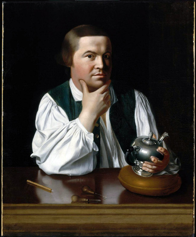 Patriot Paul Revere was the son of a French Huguenot named Apollo Rivoire. John Singleton Copley, Portrait of Paul Revere. c. 1768–70. Public Domain
