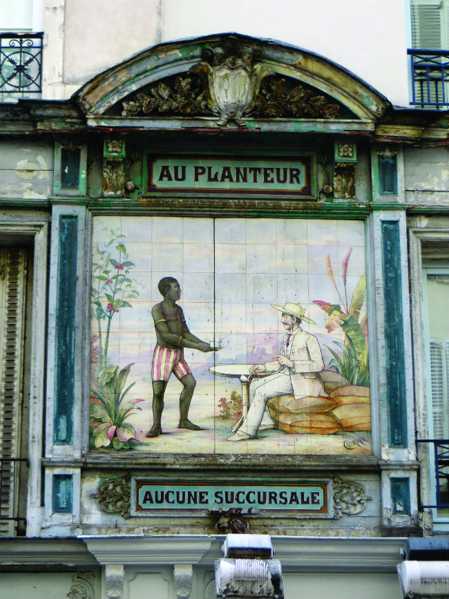 Vestige of colonial era ceramics on the rue Montorgueil