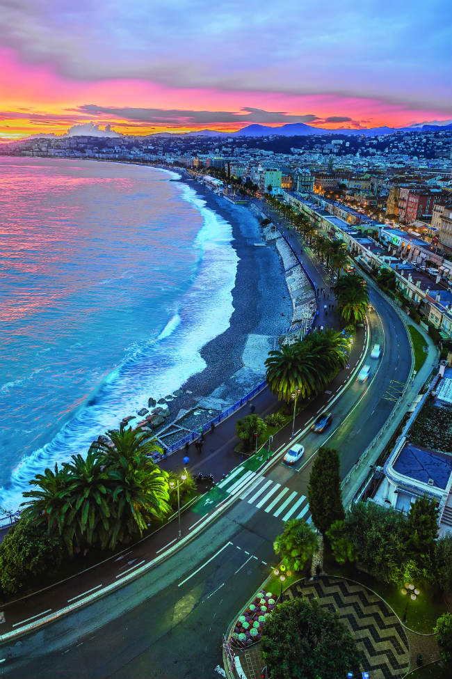 Nice's Promenade des Anglais at sunset