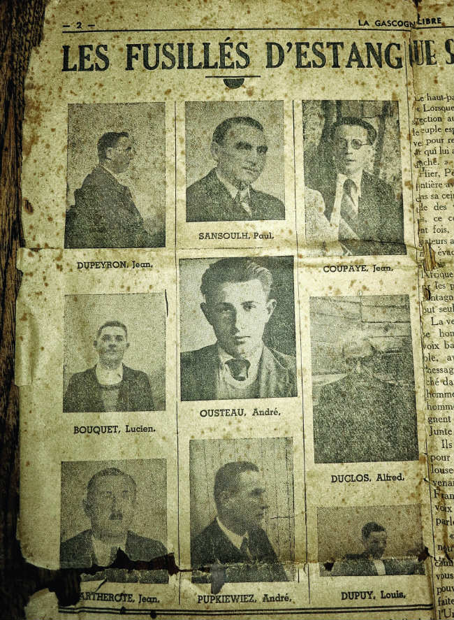 newspaper account of the nine men from Estang who were executed in reprisal for the deaths of Nazis