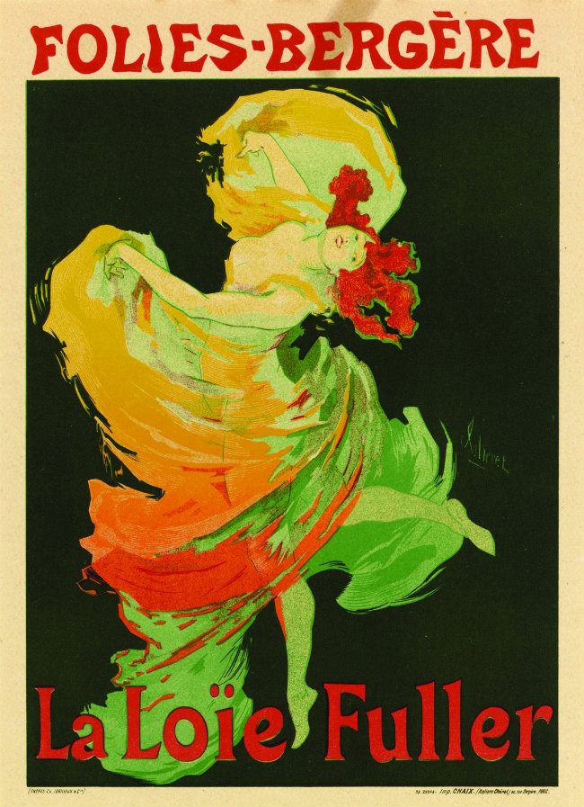 Contemporary poster advertising Loie Fuller's show at Les Folies Bergères
