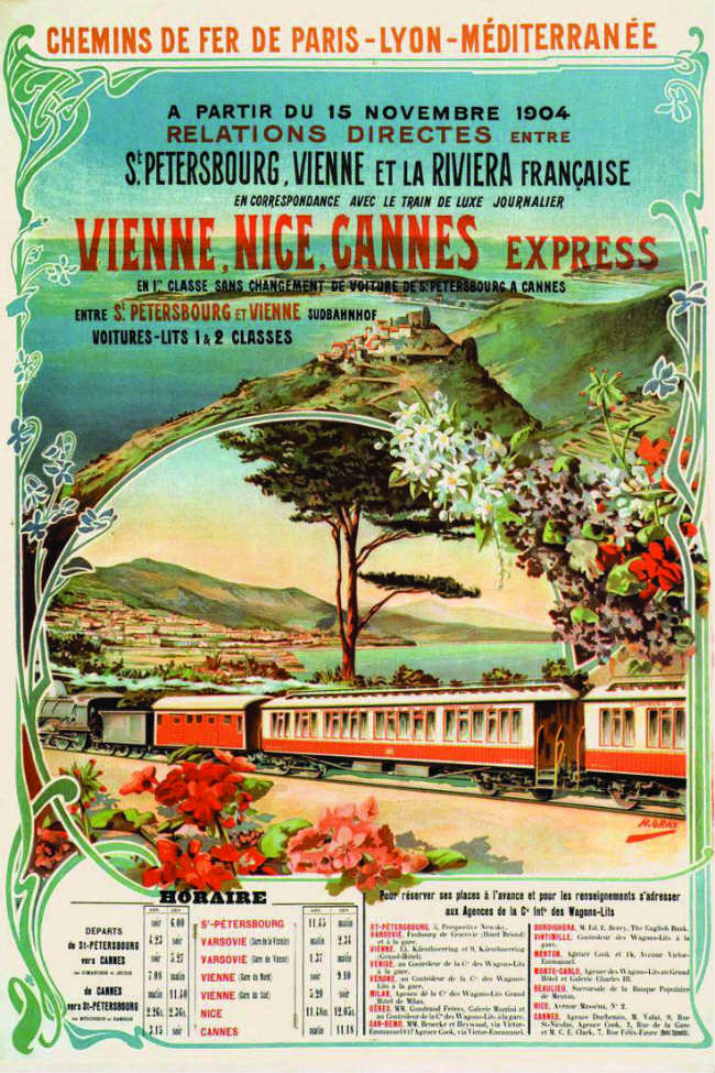 Old train poster, Russia to Nice