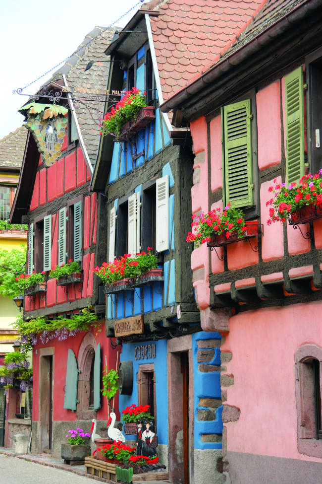 Traditional half-timbered buildings in Alsace