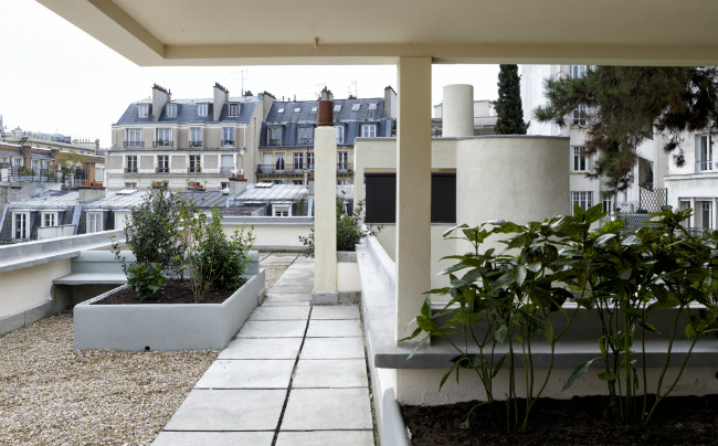 The rooftop garden at the Maison La Roche
