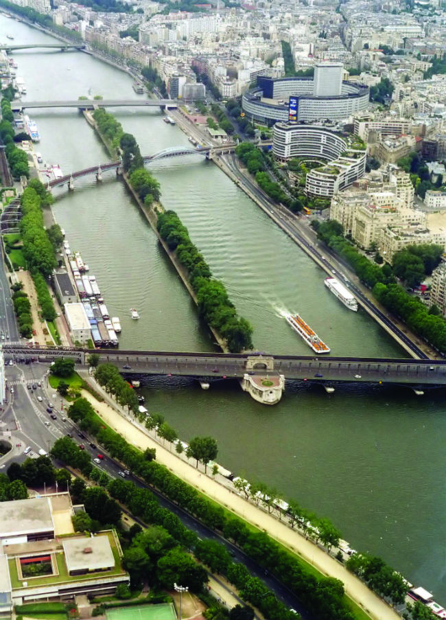 View of Île aux Cygnes from Eiffel Tower