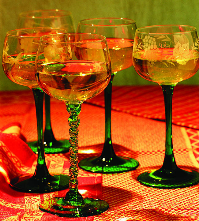Traditional wine glasses in Alsace