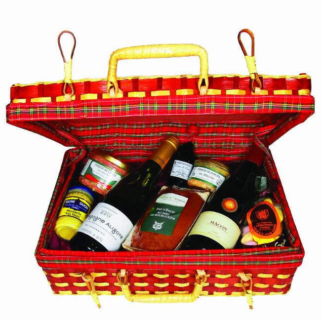 Burgundy picnic basket