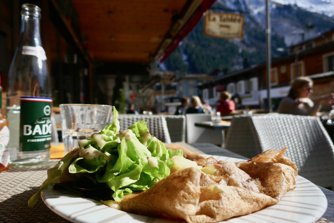 A delicious raclette crepe in Chamonix