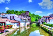 The River Nive weaves its way through Saint-Jean-Pied-de-Port in Pays Basque