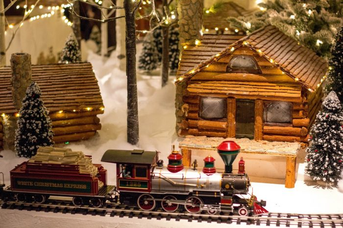 Christmas decoration with a mini train