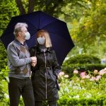 Senior man and woman in face mask. Virus outbreak. Retired couple walking in a park under quarantine during coronavirus outbreak. Surgical masks to prevent sickness.