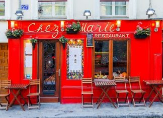 PARIS, FRANCE, on October 30, 2017. The small traditional cafe on Momartr expects visitors.