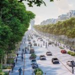 : A bird's eye view of the ChampsÉ lysé es and l'Arc de Triomphe, set to be transformed by greenery by 2030