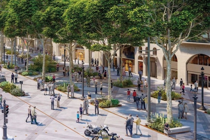 ChampsÉ lysé es and l'Arc de Triomphe, set to be transformed by greenery by 2030. © PCA-STREAM