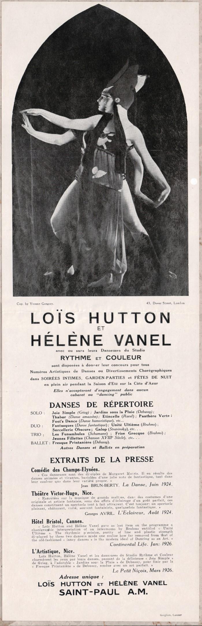 A flyer advertising Loïs Hutton and Hélène Vanel, and the Studio Rythme et Couleur,