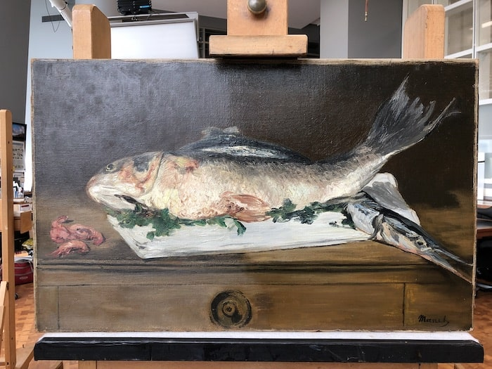 Manet's Still Life with Fish and Shrimp_Conservation Treatment in Studio.