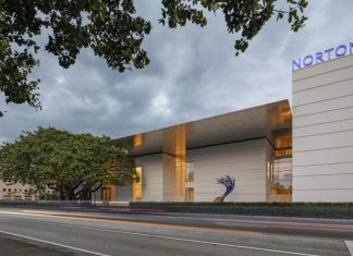 Front angle view of redesigned Norton Museum of Art in February 2019