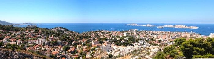 A view from Notre-Dame de la Garde into west towards the Mediterranean Sea.