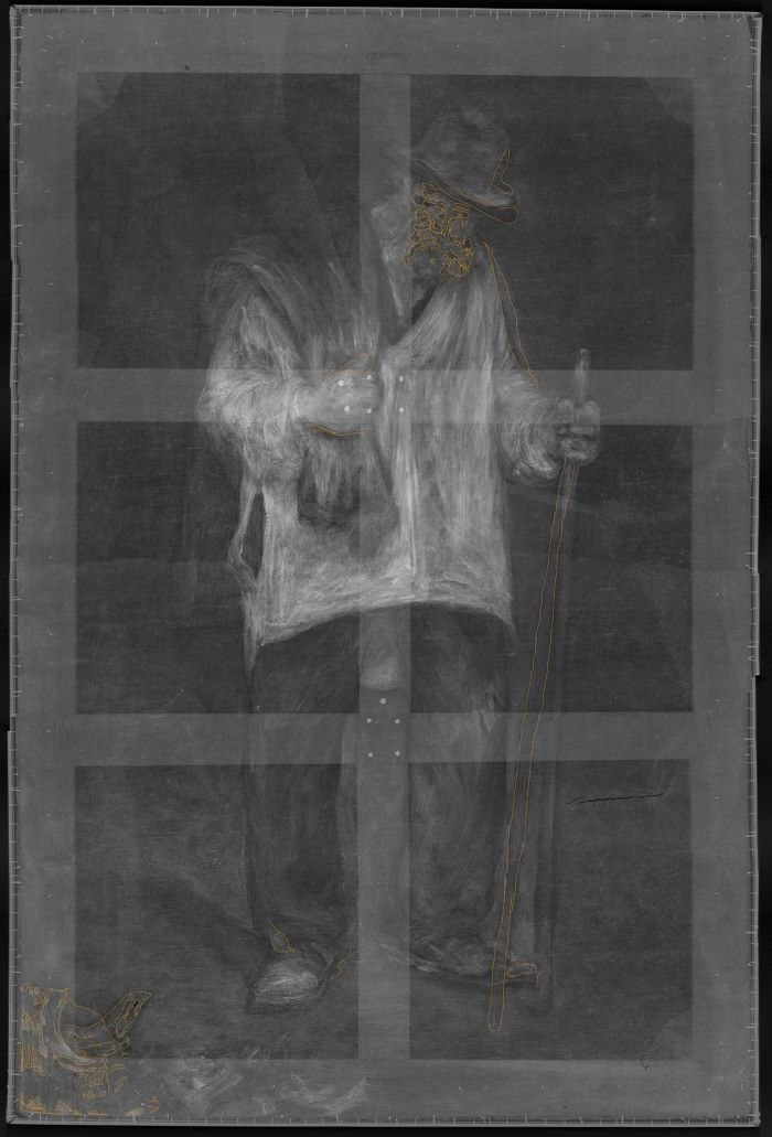 The Ragpicker under x-ray that shows the staff and still life changes. Images courtesy of the J. Paul Getty Museum.