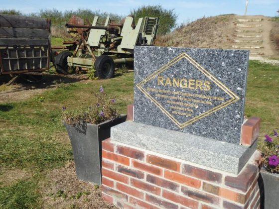 Monument to the US Rangers who captured the gun batteries at Maisy on 9 June 1944