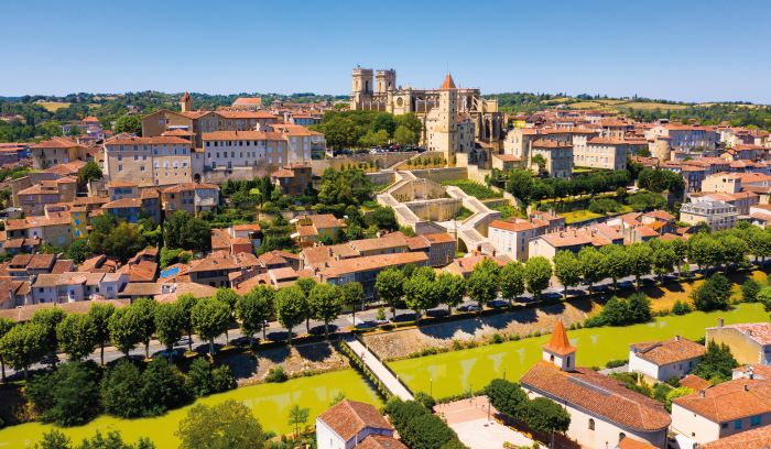 A panoramic view of the city of Auch, the capital of Gers and the historical capital of Gascony