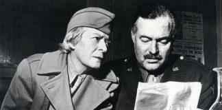 Hemingway with fellow American writer and journalist Janet Flanner, wearing their war correspondent uniforms in 1944 Paris