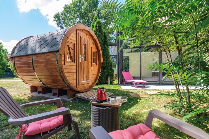 Get away from it all with a stay in this wooden 'waggon' at Chateau de la Villeneuve in Saint Marcel (Photo Chateau de la Villeneuve